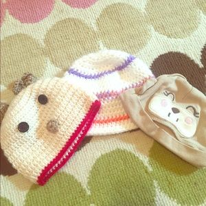 Lot of three baby hats